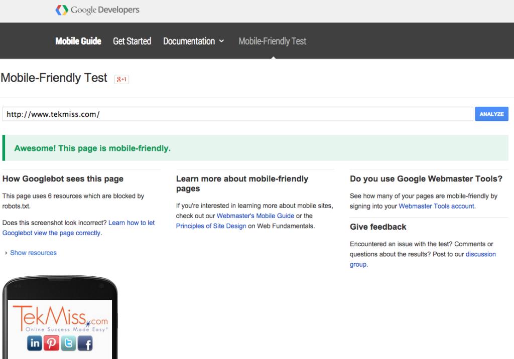 tekmiss - google mobile friendly website